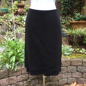 Ann Taylor Tiered Ruffle Hem Black Pencil Skirt